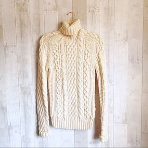 [J. Crew] Cable Knit Wool Fisherman Sweater
